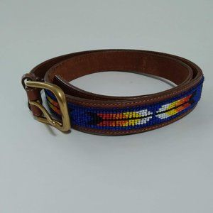 Land's End Native Beaded Leather Belt 40